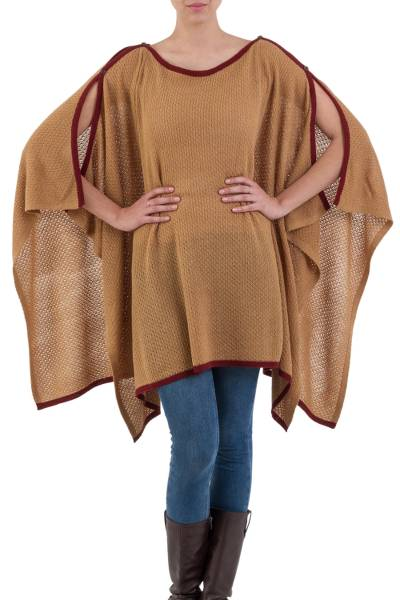 Alpaca Wool Blend Neutral Peruvian Poncho in Camel