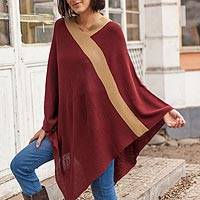 Poncho, 'Burgundy and Tan Beam of Light' - Peruvian Knit Bohemian Drape Poncho in Burgundy and Camel