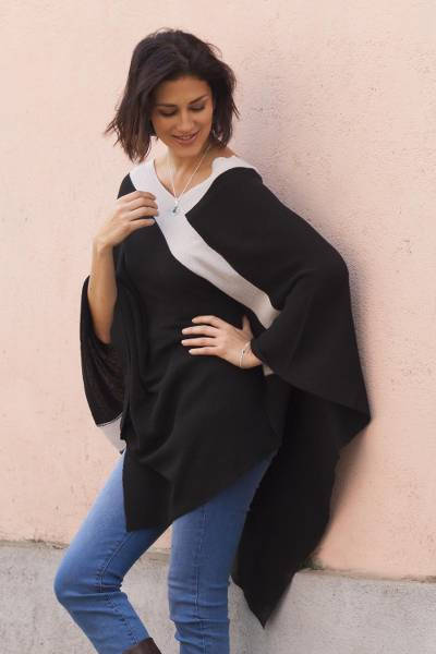 Poncho, 'Black and Grey Beam of Light' - Black and Grey Peruvian Knit Bohemian Drape Poncho