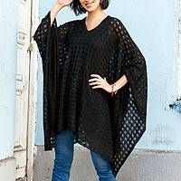 Poncho, 'Beautiful Shadow' - Black Bohemian Style One Size Fits Most Poncho from Peru