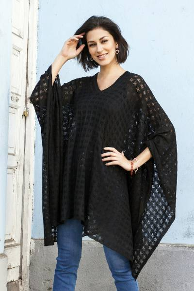 Baby alpaca blend poncho, 'Beautiful Shadow' - Black Bohemian Style One Size Fits Most Poncho from Peru