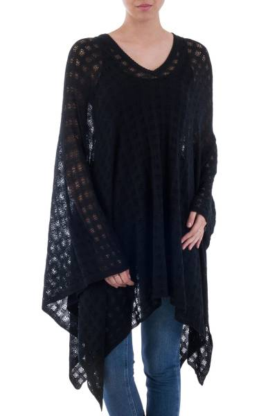 Black Bohemian Style One Size Fits Most Poncho from Peru