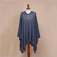 Poncho, 'Indigo Shadow' - Blue Bohemian Style One Size Fits Most Poncho from Peru