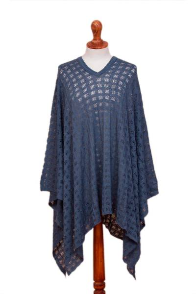 Blue Bohemian Style One Size Fits Most Poncho from Peru