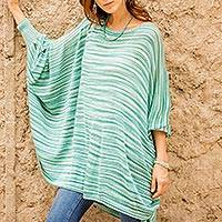 Cotton blend sweater, 'Jade Dream' - Striped Jade Bohemian Drape Sweater from Peru