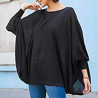 Cotton blend sweater, 'Night Breeze' - Soft Knit Bohemian Style Black Drape Sweater from Peru