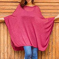 Cotton blend sweater, 'Bright Wind' - Soft Knit Bohemian Style Wine Drape Sweater from Peru