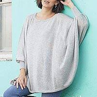 Cotton blend sweater, 'Mountain Breeze' - Soft Knit Bohemian Style Grey Drape Sweater from Peru
