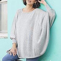 Cotton blend sweater, 'Mountain Breeze' - Soft Knit Bohemian Style Grey Drape Sweater from Peru