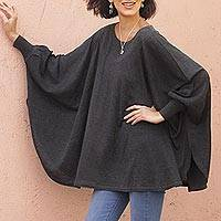 Cotton blend sweater, 'Charcoal Breeze' - Soft Knit Bohemian Style Charcoal Drape Sweater from Peru