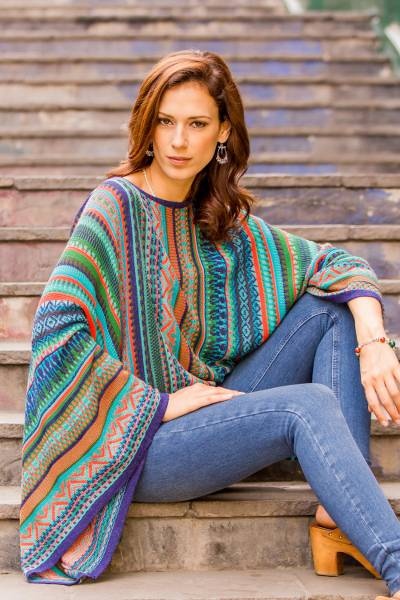 Striped kimono sleeve sweater, 'Lima Dance' - Bohemian Knit Sweater from Peru in Turquoise Stripes