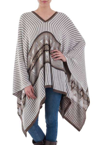 Bohemian Poncho in Brown and White Stripes from Peru