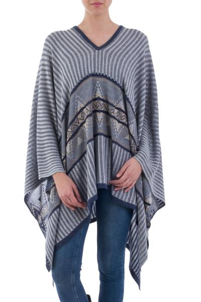 Bohemian Poncho in Blue Geometric Pattern from Peru