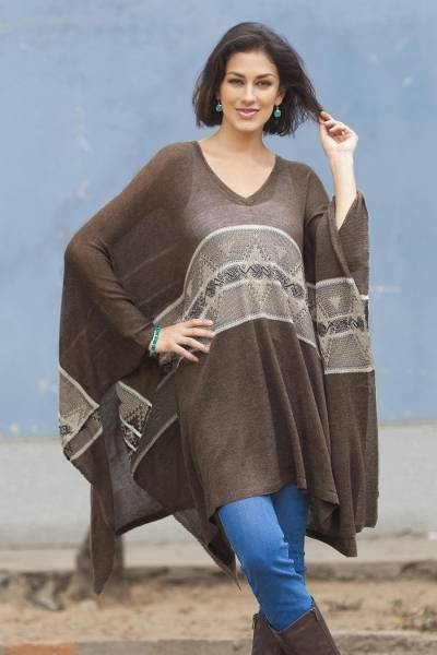 Cotton blend poncho, Brown Inca