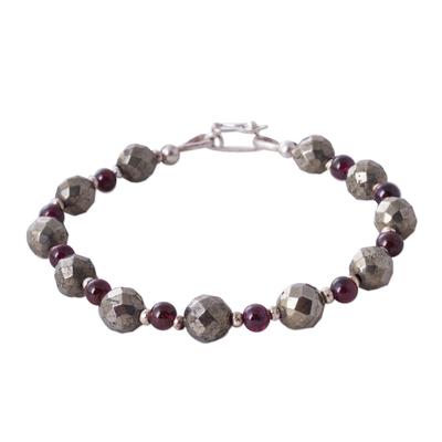 Garnet Pyrite 925 Silver Artisan Crafted Beaded Bracelet
