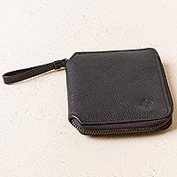 Leather wallet, 'Nighttime Dark' - Unisex Black Leather Wallet with Handle from Peru