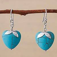 Sterling silver dangle earrings, 'Sky Blue Hearts' - Sterling Silver Reconstituted Turquoise Dangle Earrings Peru
