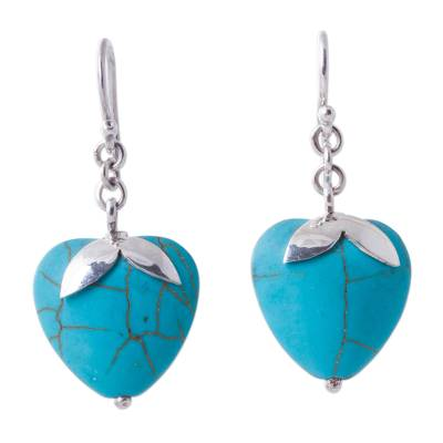 Sterling Silver Reconstituted Turquoise Dangle Earrings Peru