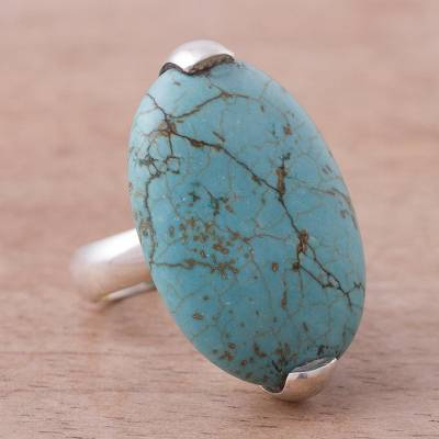 Sterling Silver Reconstituted Turquoise Cocktail Ring Peru