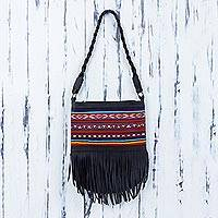 Leather and wool shoulder bag, 'Andean Dawn' - Leather and Wool Shoulder Bag with Fringe from Peru