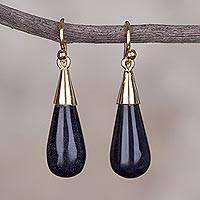 Gold plated dangle earrings, 'Frosty Night' - Gold Plated Sterling Silver Dangle Earrings from Peru