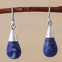 Sodalite dangle earrings, 'Blue Tempest' - Sterling Silver and Sodalite Dangle Earrings from Peru