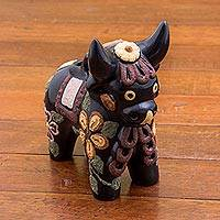 Ceramic figurine, 'Matte Pucara Bull' - Hand Painted Matte Ceramic Bull in Black from Peru
