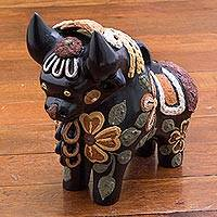 Ceramic figurine, 'Matte Colorful Pucara Bull' - Matte Painted Ceramic Bull with Floral Motifs from Peru