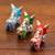 Ceramic figurines, 'Tricolor Pucara Bulls' (set of 3) - Green Blue and Red Ceramic Bull Sculptures (Set of 3) (image 2b) thumbail