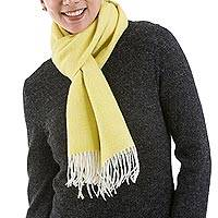 100% baby alpaca scarf, 'Lovely Lemon' - 100% Baby Alpaca Wool Yellow Scarf from Peru
