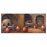 'Mashica's Kitchen' - Traditional Peruvian Adobe Kitchen Painting by Peru Artist