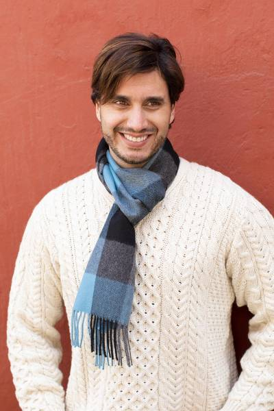 Men's 100% baby alpaca scarf, 'Times Square' - Men's Blue and Black Baby Alpaca Wool Scarf from Peru