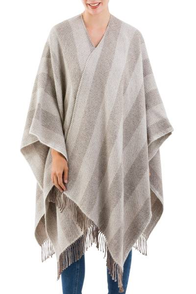 Brown and Ivory 100% BabyAlpaca Ruana with Fringe from Peru