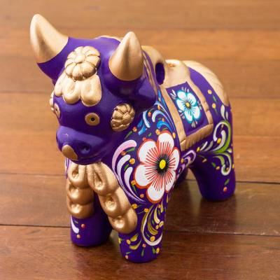 Ceramic figurine, 'Purple Pucara Bull' - Purple Floral Painted Ceramic Bull Sculpture from Peru
