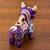 Ceramic figurine, 'Purple Pucara Bull' - Purple Floral Painted Ceramic Bull Sculpture from Peru (image 2b) thumbail