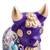 Ceramic figurine, 'Purple Pucara Bull' - Purple Floral Painted Ceramic Bull Sculpture from Peru (image 2e) thumbail