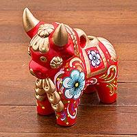 Ceramic figurine, 'Red Pucara Bull' - Red Painted Ceramic Bull Folk Art Sculpture