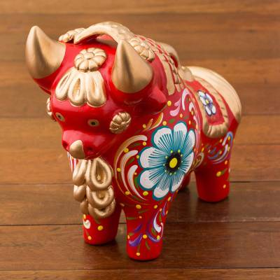 Ceramic figurine, 'Big Red Pucara Bull' - Red Painted Ceramic Bull Folk Art Figurine from Peru