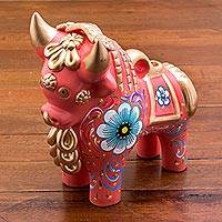 Ceramic figurine, 'Big Pink Pucara Bull' - Pink Painted Ceramic Bull Sculpture Floral Motif from Peru