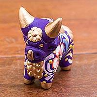 Ceramic figurine, 'Little Purple Pucara Bull' - Hand Painted Purple Ceramic Bull Sculpture Floral from Peru