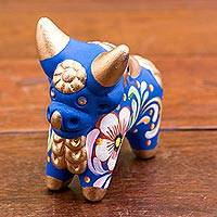 Ceramic figurine, 'Little Blue Pucara Bull' - Hand Painted Blue Ceramic Bull Figurine from Peru