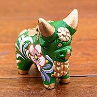 Ceramic figurine, 'Little Green Pucara Bull' - Hand Painted Green Ceramic Bull Figurine from Peru