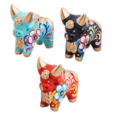 Ceramic figurines, 'Little Pucara Bulls' (set of 3) - Handcrafted Multicolor Set of Three Bull Figurines
