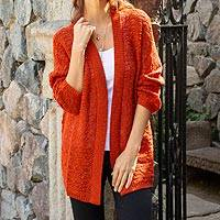 Alpaca blend cardigan, 'Fiery Warmth' - Alpaca Blend Crocheted Cardigan in Fire from Peru