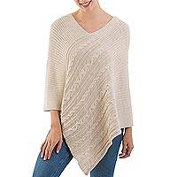 Alpaca blend poncho, 'Ivory Textures' - Ivory Color Alpaca Blend Poncho from Peru