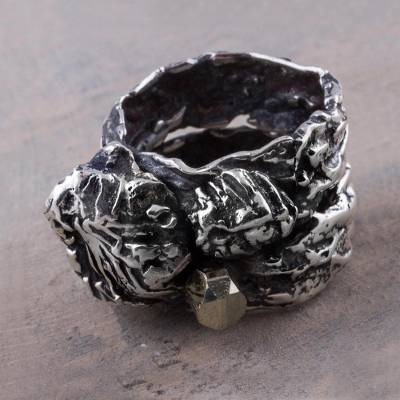 Band Ring with Leaf and Tree Design in 925 Silver and Pyrite