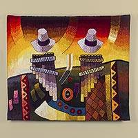 Wool blend tapestry, 'Sounds of the Andes' - Hand Crafted Wool Abstract Tapestry from Peru