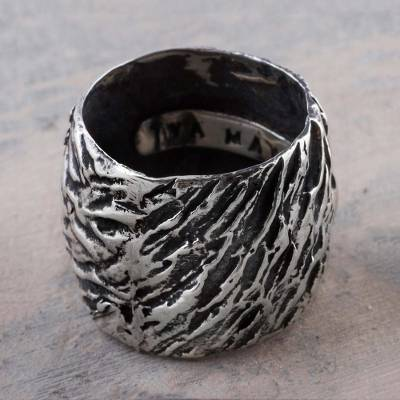 925 Artisan Jewelry Wide Sterling Silver Band Ring from Peru