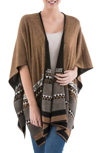 Reversible alpaca blend ruana, 'Incan Kingdom in Golden Brown' - Reversible Alpaca Blend Ruana in Black and Golden Brown
