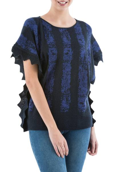 Alpaca blend sweater, 'Prussian Blue Stripes' - Knit Alpaca Blend Sweater in Midnight from Peru